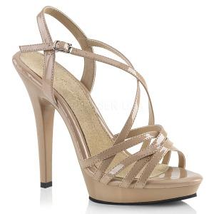 Bezový 13 cm Fabulicious LIP-113 dámské sandály na podpatku