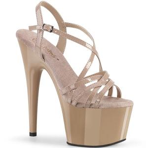 Bezový 18 cm ADORE-713 pleaser sandály na jehlovém podpatku