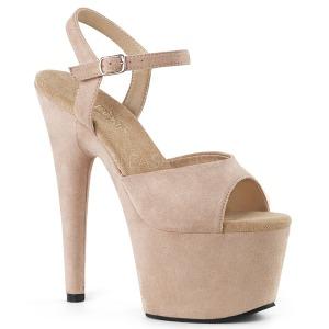 Bezový Koženka 18 cm ADORE-709FS dámské sandály na podpatku