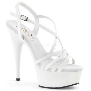 Bílá 15 cm Pleaser DELIGHT-613 Sandály na vysokém podpatku