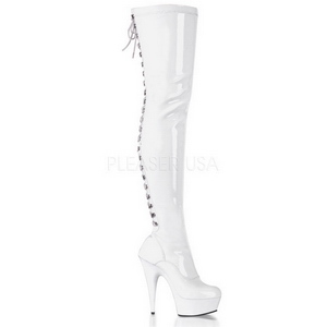 Bílá Lesklý 15,5 cm DELIGHT-3063 Kozačky Nad Kolena Platformě