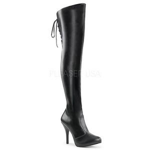 Fekete koženka 12,5 cm EVE-312 kozačky nad kolena na široká lýtka