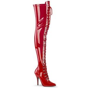 Lakovaná 13 cm SEDUCE-3024 Červený kozačky nad kolena šněrovací