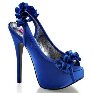 Modrý Satén 14,5 cm TEEZE-56 Platformě Sandály Podpatky