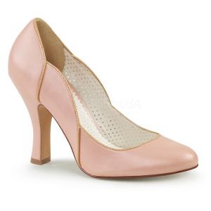 Růžový 10 cm SMITTEN-04 Pinup lodičky boty s nízkým podpatkem