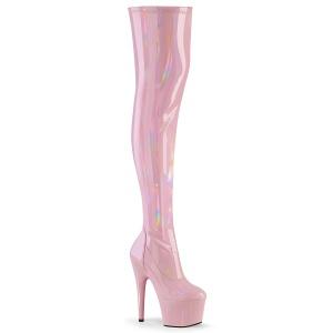 Růžový 18 cm ADORE-3000HWR Hologram platformě overknee kozačky pro tanec na tyči