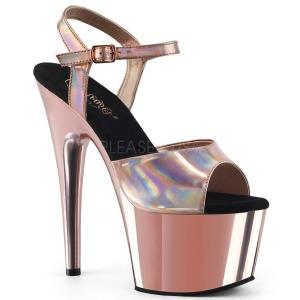 Růžový 18 cm ADORE-709HGCH Hologram boty na platformě a podpatku