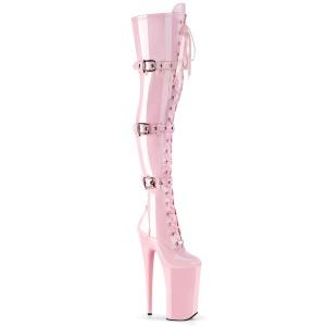 Růžový Lakovaná 25,5 cm BEYOND-3028 kozačky nad kolena na platformě