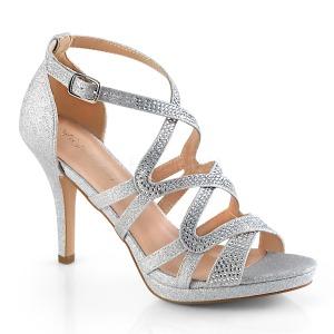 Stříbro 9,5 cm DAPHNE-42 sandály na jehlovém podpatku