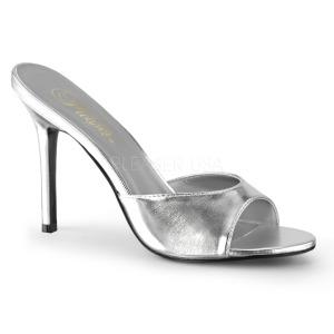 Stříbro Koženka 10 cm CLASSIQUE-01 velké velikosti pantofle dámské