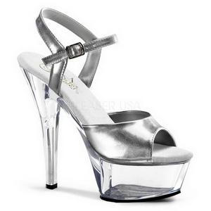 Stříbro Průhledný 15 cm Pleaser KISS-209 Vysoké Podpatky Platformě