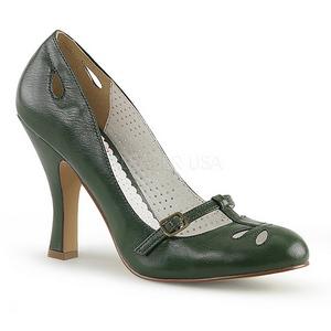 Zelený 10 cm SMITTEN-20 Pinup lodičky boty s nízkým podpatkem