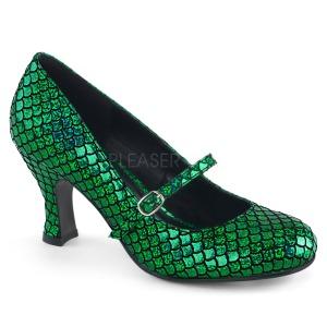 Zelený 7,5 cm MERMAID-70 lodičky boty s nízkým podpatkem