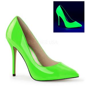 Zelený Neon 13 cm AMUSE-20 Lodičky na jehlovém podpatku