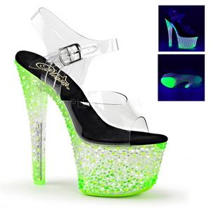 Zelený Neon 18 cm Pleaser CRYSTALIZE-308PS Platformě Vysoké Podpatky