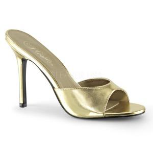 Zlato 10 cm CLASSIQUE-01 nízký podpatek pantoflicky dámské