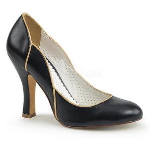 Černý 10 cm SMITTEN-04 Pinup lodičky boty s nízkým podpatkem