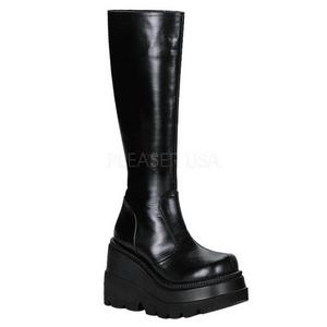 Černý 11,5 cm SHAKER-100 Gotické Platformě Kozačky