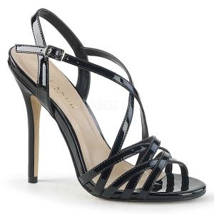 Černý 13 cm Pleaser AMUSE-13 dámské sandály na podpatku