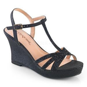 Černý 8 cm SILVIE-20 Klínové Sandály Podpatky