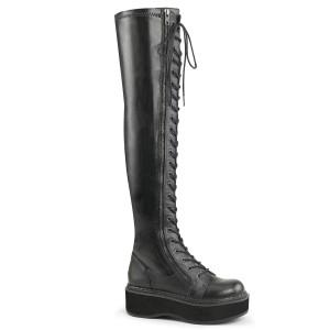 Černý Koženka 5 cm EMILY-375 kozačky nad kolena šněrovací
