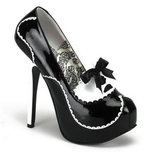 Černý Lak 14,5 cm Burlesque BORDELLO TEEZE-01 Platformě Lodičky Dámské