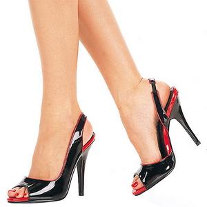 Černý Lakované 13 cm SEDUCE-117 High Heels Sandály Dámské