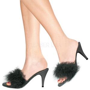 Černý Peří 8 cm AMOUR-03 Pantofličky na Podpatku pro Muže