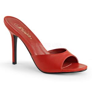 Červený 10 cm CLASSIQUE-01 nízký podpatek pantoflicky dámské