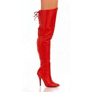 Červený Kůže 13 cm LEGEND-8899 Kozačky Nad Kolena