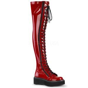 Červený Lakovaná 5 cm EMILY-375 kozačky nad kolena šněrovací