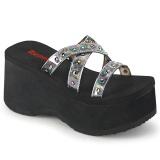 Stříbro 9 cm DEMONIA FUNN-19 pantofle na platformy gothic