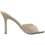 Bezový 10 cm CLASSIQUE-01 nízký podpatek pantoflicky dámské