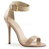 Bezový 13 cm Pleaser AMUSE-10 dámské sandály na podpatku