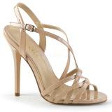 Bezový 13 cm Pleaser AMUSE-13 dámské sandály na podpatku