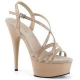 Bezový 15 cm Pleaser DELIGHT-613 Sandály na vysokém podpatku