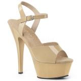 Bezový 15 cm Pleaser KISS-209 dámské sandály na podpatku