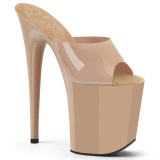 Bezový Jelly-Like 20 cm FLAMINGO-801N pantofle na podpatku pro tanec na tyči