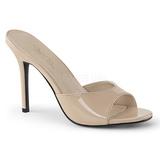 Bezový Lakovaná 10 cm CLASSIQUE-01 velké velikosti pantofle dámské