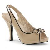Bezový Lakovaná 11,5 cm PINUP-10 velké velikosti sandály dámské