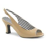 Bezový Lakovaná 7,5 cm JENNA-02 velké velikosti sandály dámské
