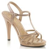 Bezový Lakované 12 cm FLAIR-420 sandály vysoký podpatek