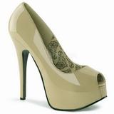 Bezový Lakované 14,5 cm Burlesque TEEZE-22 Lodičky Dámské Stiletto Podpatků