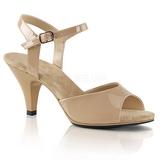 Bezový Lakované 8 cm BELLE-309 sandály vysoký podpatek