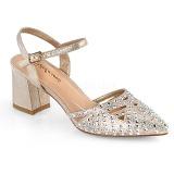 Bezový třpyt 7 cm Fabulicious FAYE-06 dámské sandály na podpatku