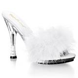 Bílá 12,5 cm GLITZY-501-8 peří marabu Vysoké Podpatku