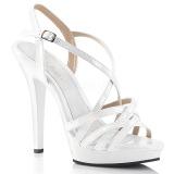 Bílá 13 cm Fabulicious LIP-113 sandály na vysokém podpatku