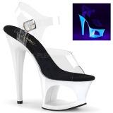 Bílá 18 cm MOON-708UV Sandály Neon Platformě