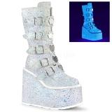 Bílá Glitter 14 cm SWING-230G kozačky cyberpunk na platformy
