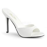 Bílá Koženka 10 cm CLASSIQUE-01 velké velikosti pantofle dámské
